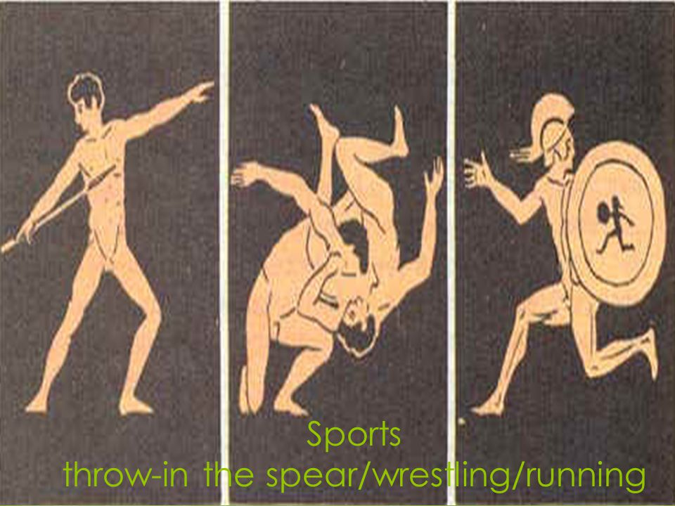Sports throw-in the spear/wrestling/running