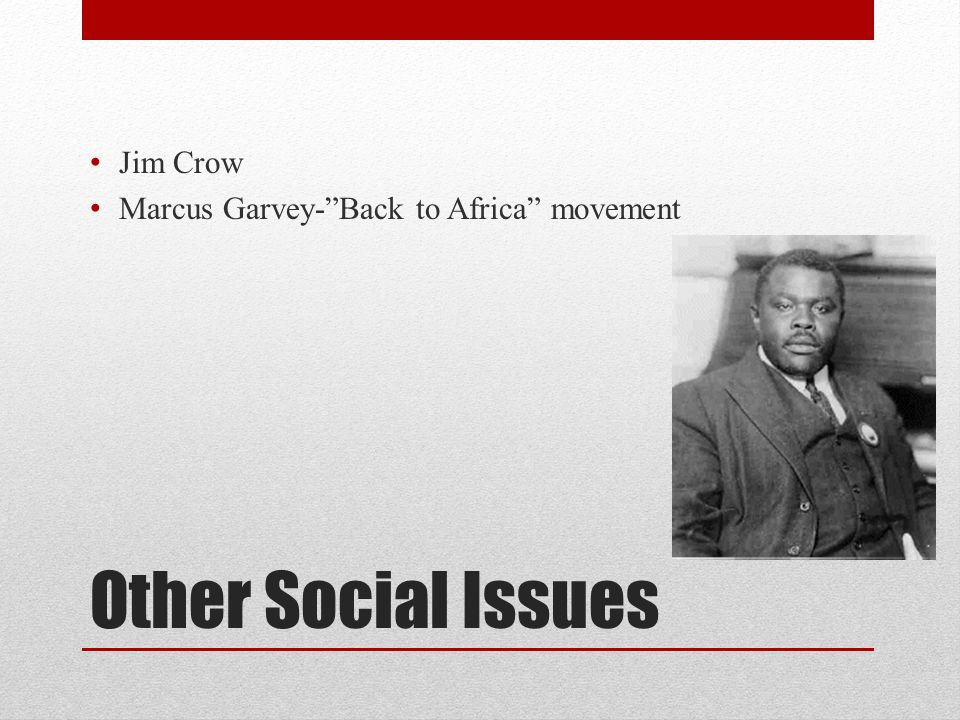 Jim Crow Marcus Garvey- Back to Africa movement Other Social Issues