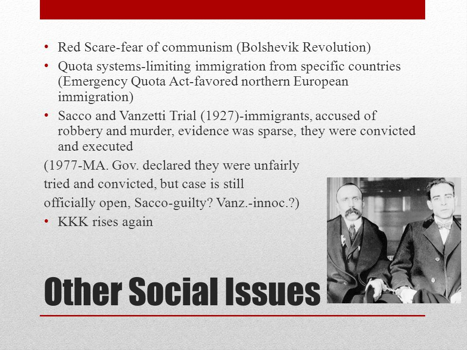 Other Social Issues Red Scare-fear of communism (Bolshevik Revolution)