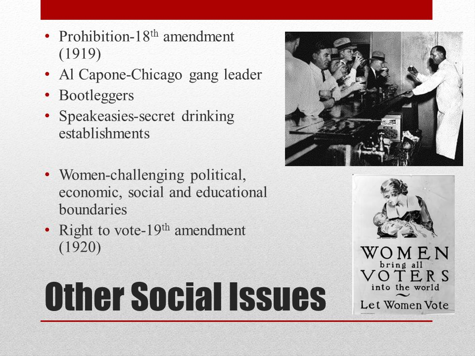 Other Social Issues Prohibition-18th amendment (1919)