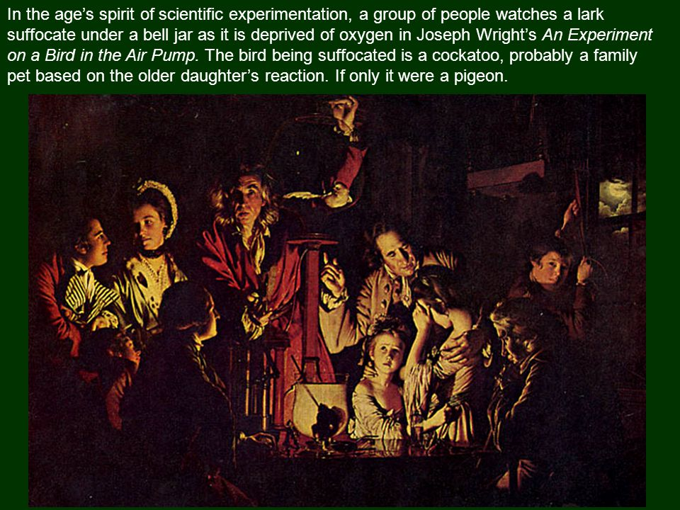 In the age's spirit of scientific experimentation, a group of people watches a lark suffocate under a bell jar as it is deprived of oxygen in Joseph Wright's An Experiment on a Bird in the Air Pump.