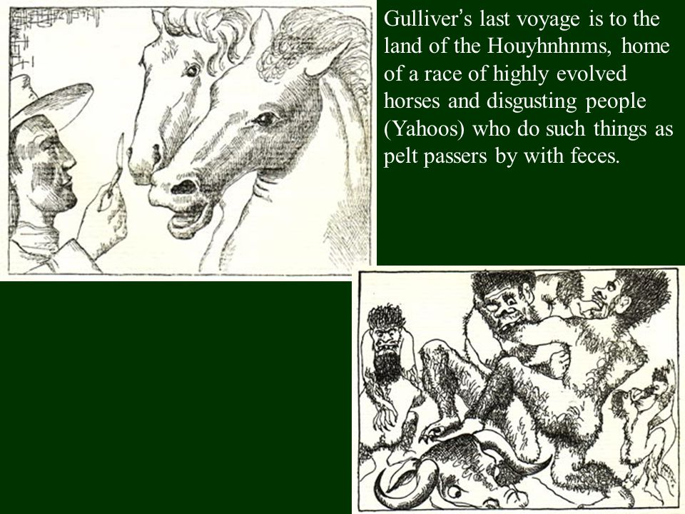 Gulliver's last voyage is to the land of the Houyhnhnms, home of a race of highly evolved horses and disgusting people (Yahoos) who do such things as pelt passers by with feces.