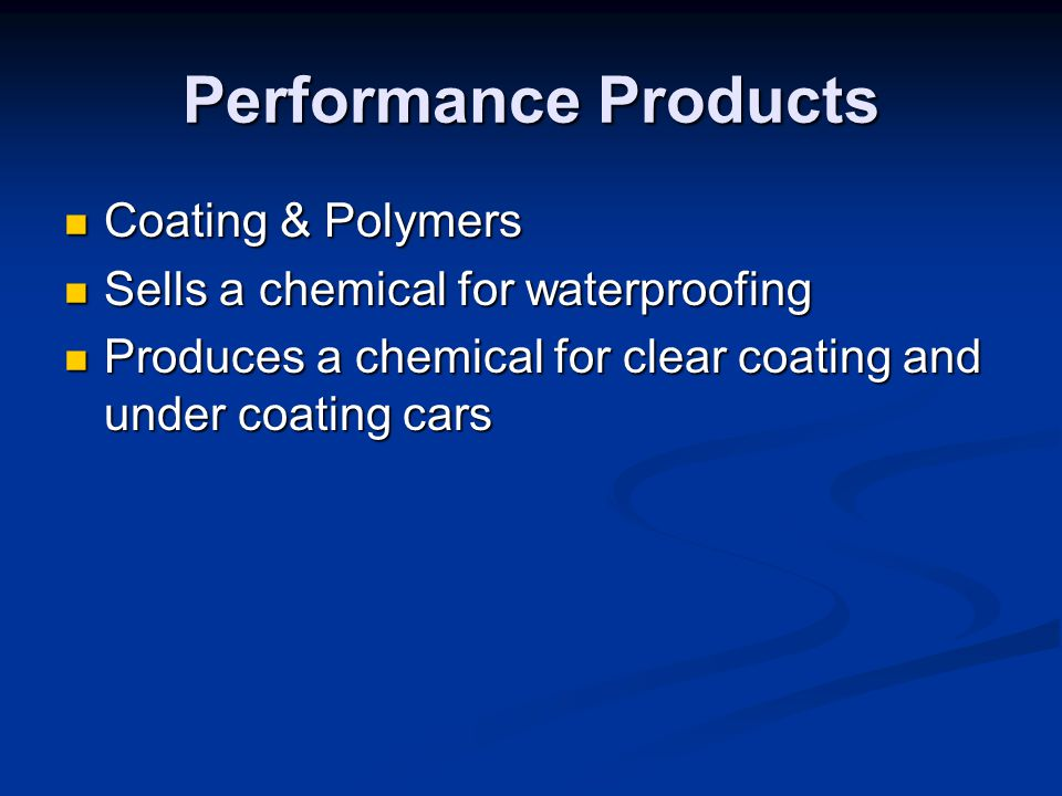 Performance Products Coating & Polymers