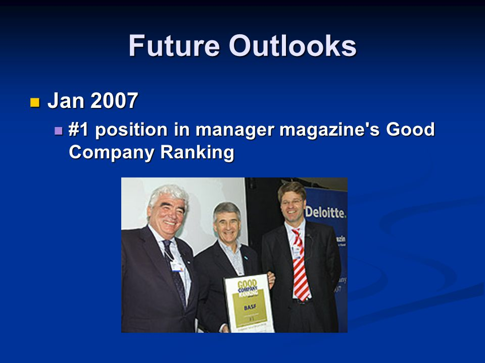 Future Outlooks Jan 2007 #1 position in manager magazine s Good Company Ranking