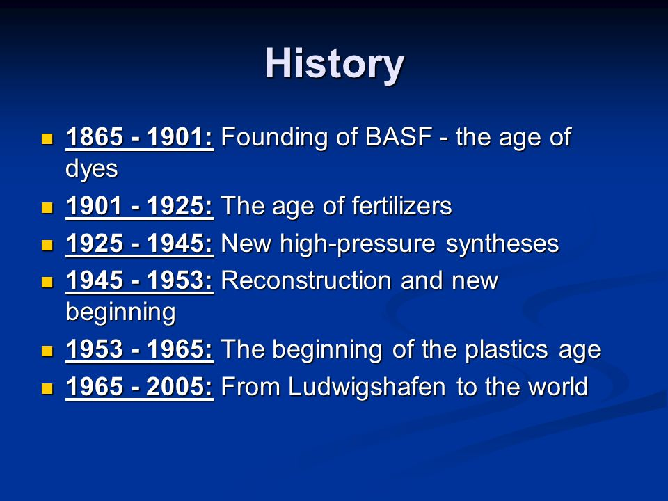 History 1865 - 1901: Founding of BASF - the age of dyes