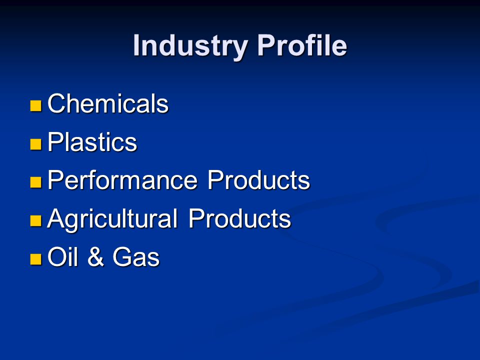 Industry Profile Chemicals Plastics Performance Products