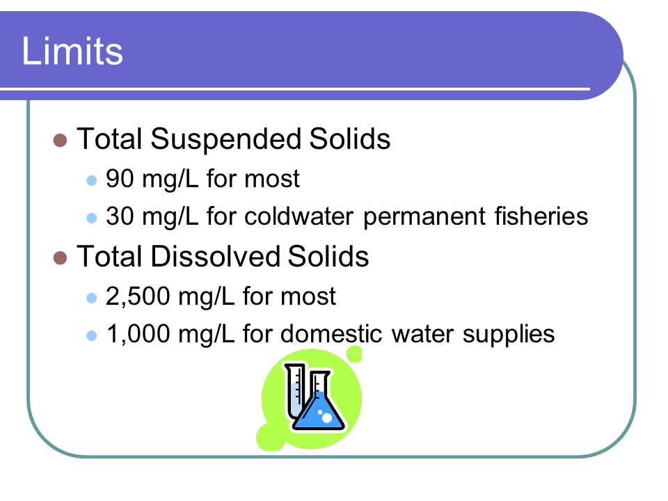 Limits Total Suspended Solids Total Dissolved Solids 90 mg/L for most