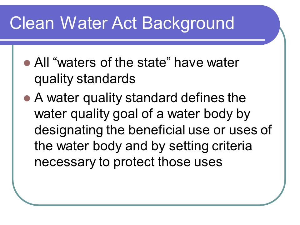 Clean Water Act Background