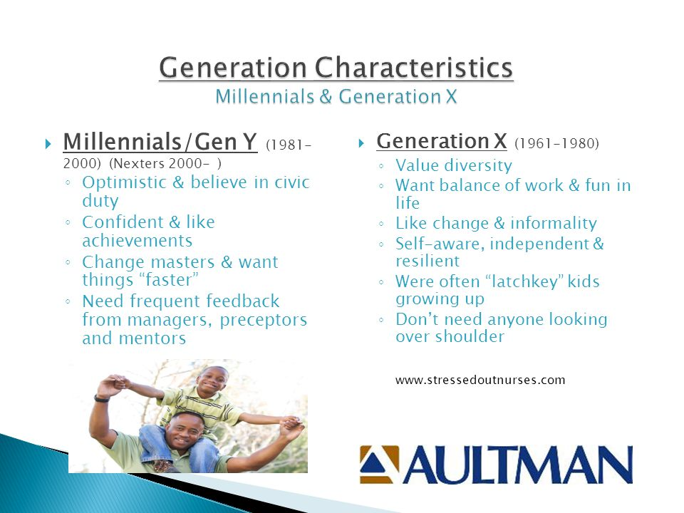 Generation Characteristics Millennials & Generation X