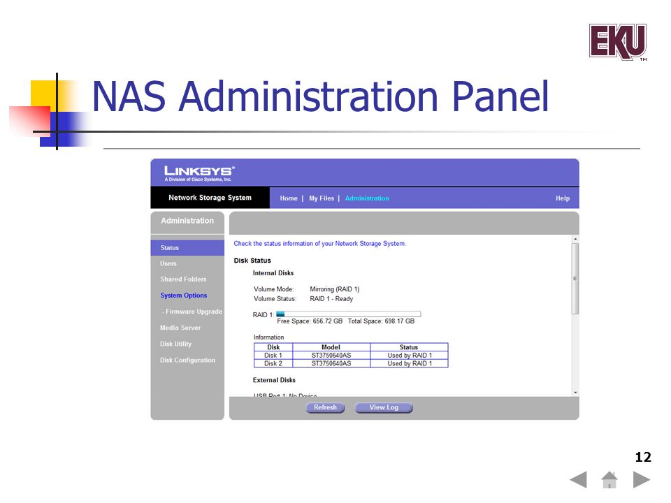 NAS Administration Panel