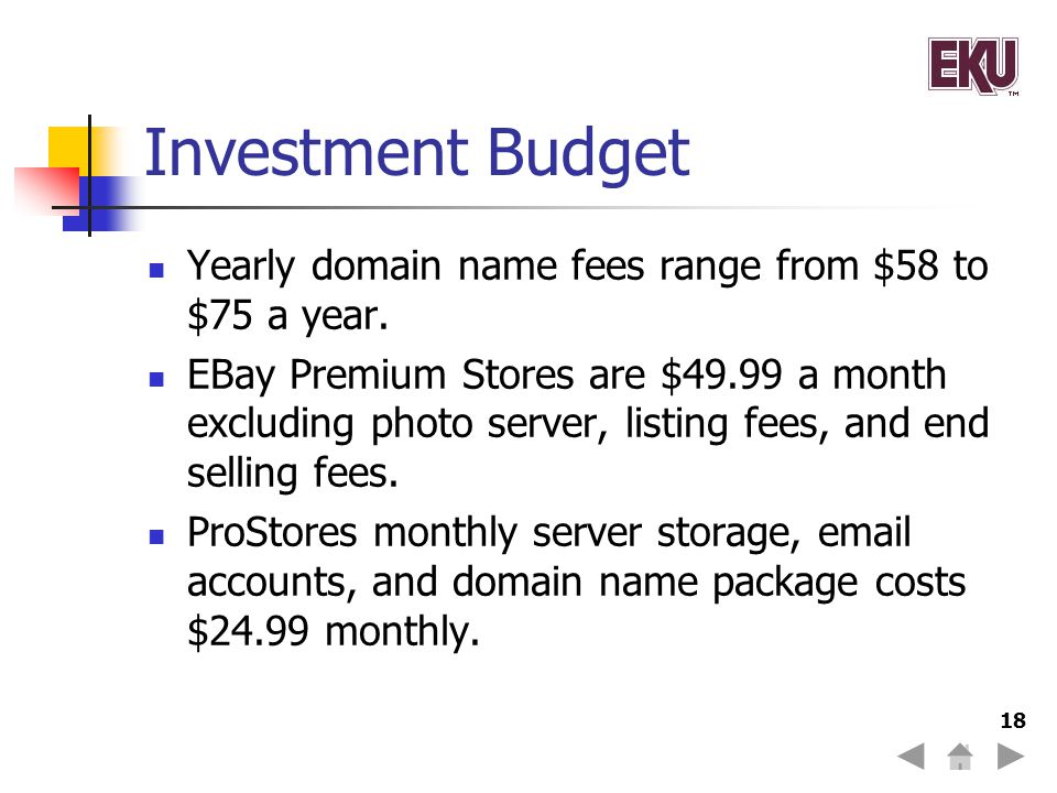 Investment Budget Yearly domain name fees range from $58 to $75 a year.