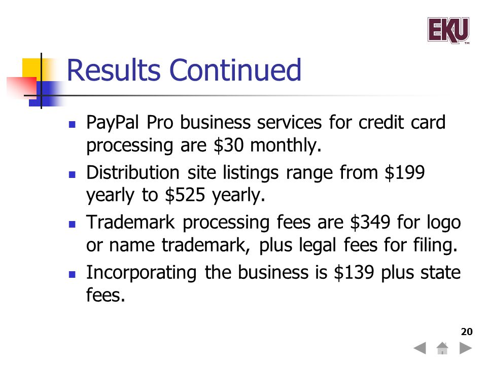 Results Continued PayPal Pro business services for credit card processing are $30 monthly.
