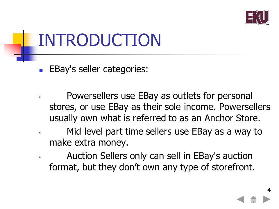 INTRODUCTION EBay s seller categories: