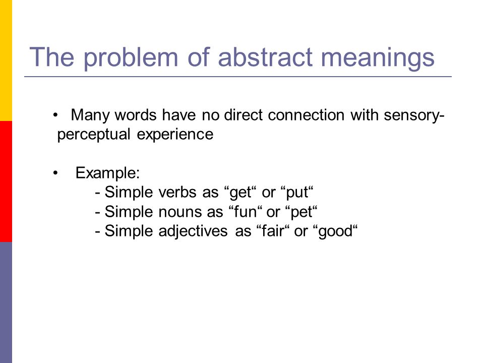 The problem of abstract meanings