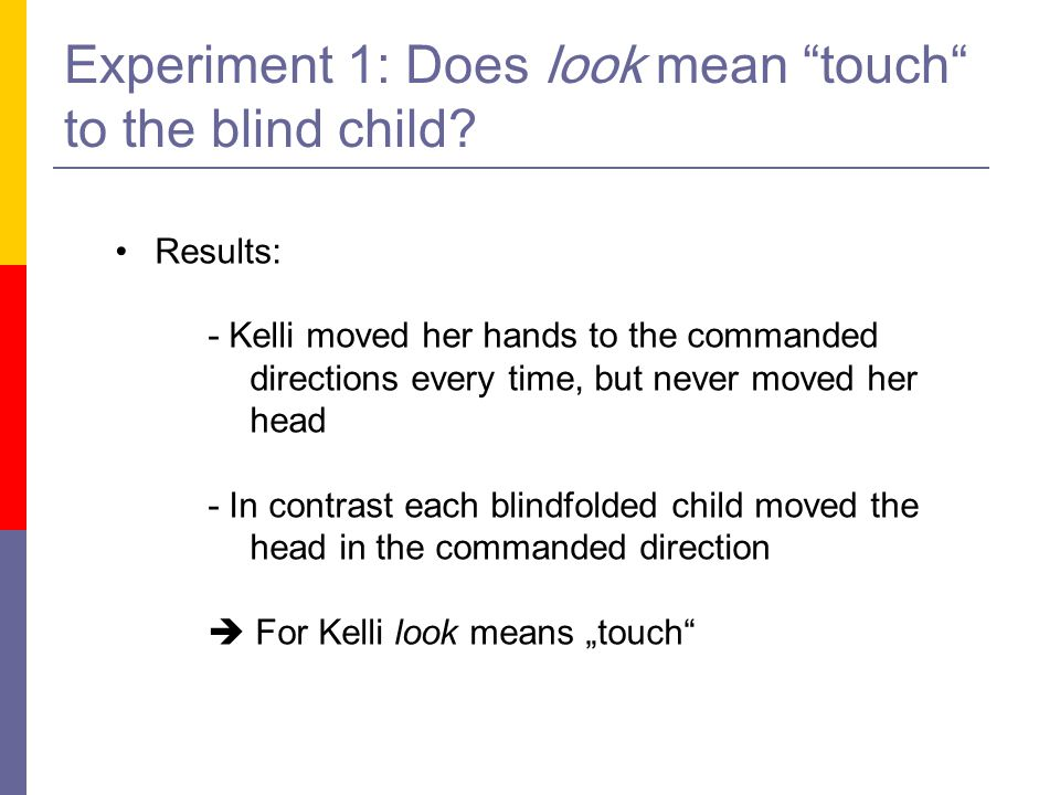 Experiment 1: Does look mean touch to the blind child