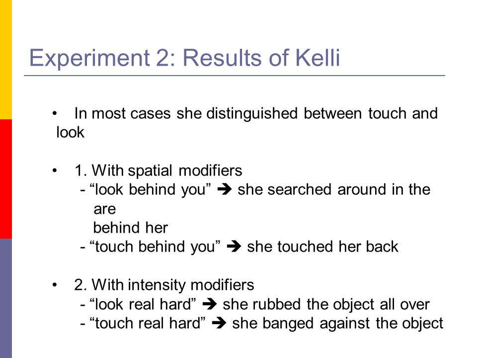 Experiment 2: Results of Kelli