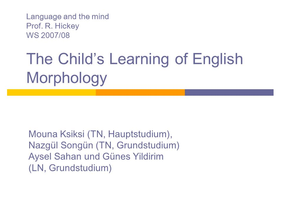Language and the mind. Prof. R. Hickey. WS 2007/08