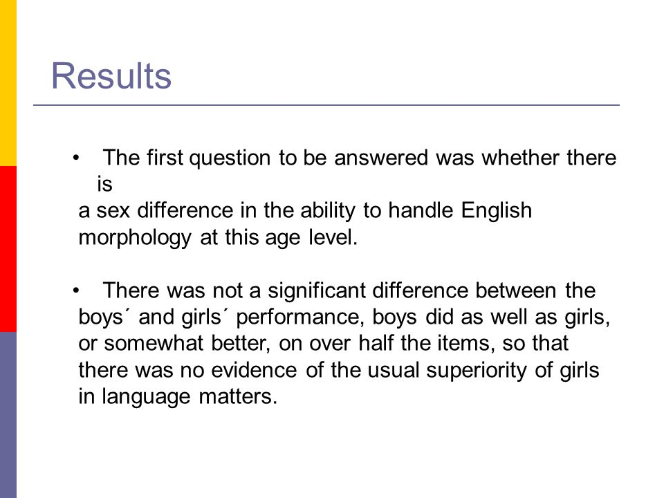 Results The first question to be answered was whether there is