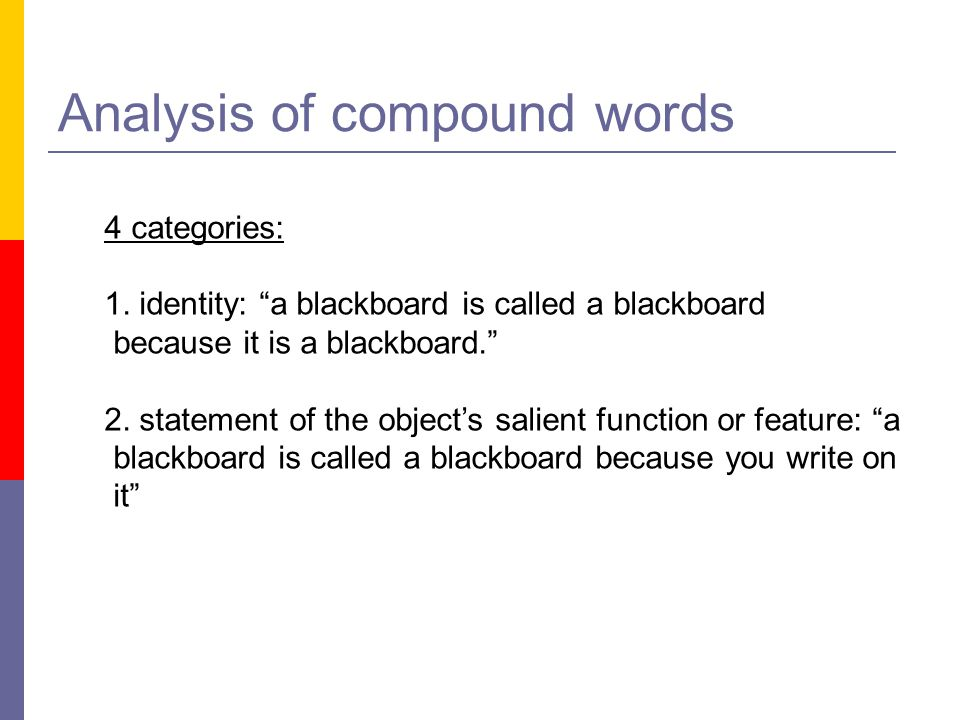 Analysis of compound words