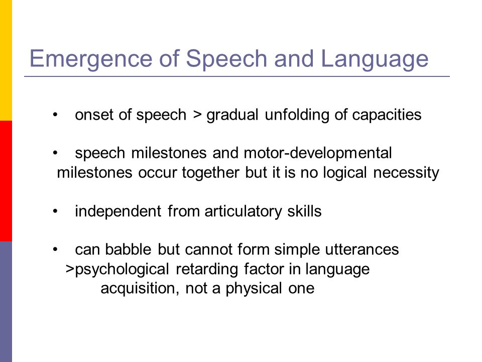 Emergence of Speech and Language