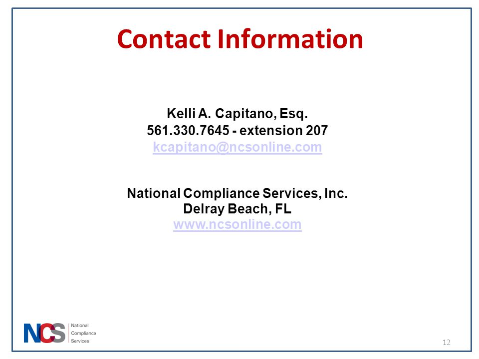 National Compliance Services, Inc.