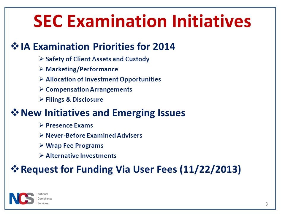SEC Examination Initiatives