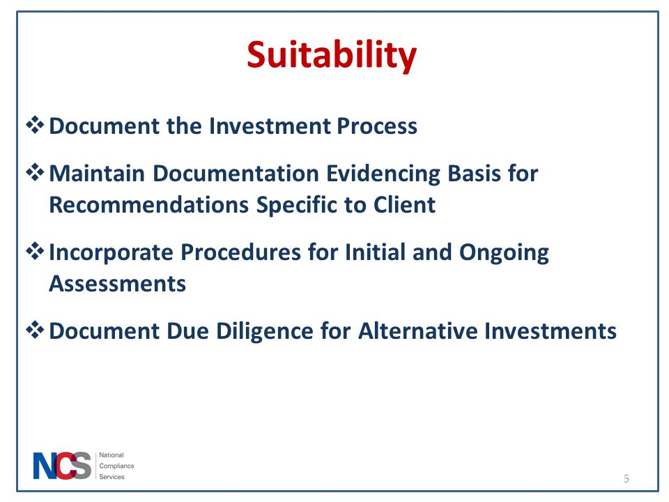 Suitability Document the Investment Process