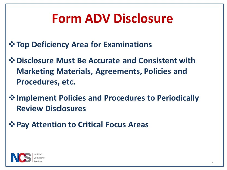 Form ADV Disclosure Top Deficiency Area for Examinations