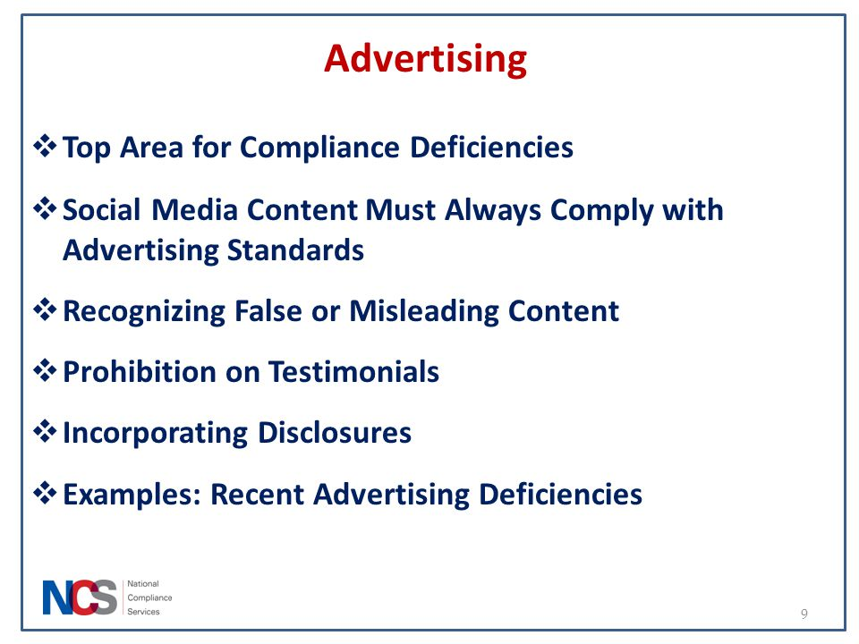 Advertising Top Area for Compliance Deficiencies