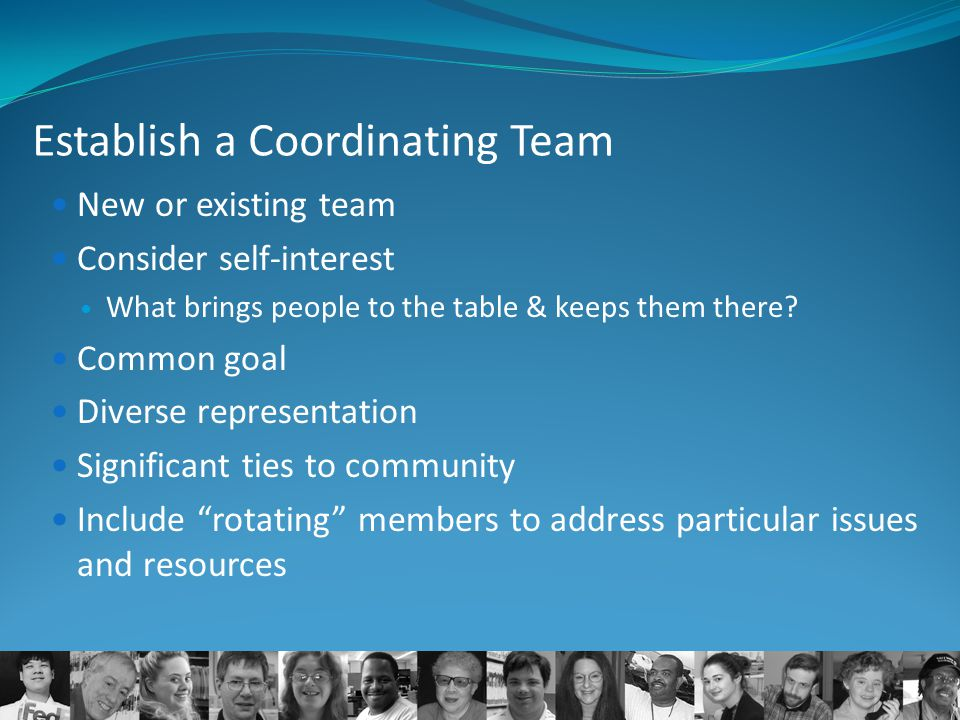 Establish a Coordinating Team