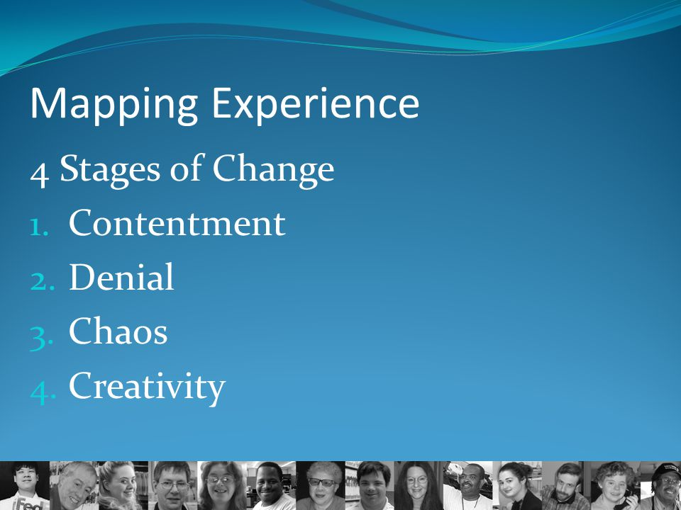 Mapping Experience 4 Stages of Change Contentment Denial Chaos