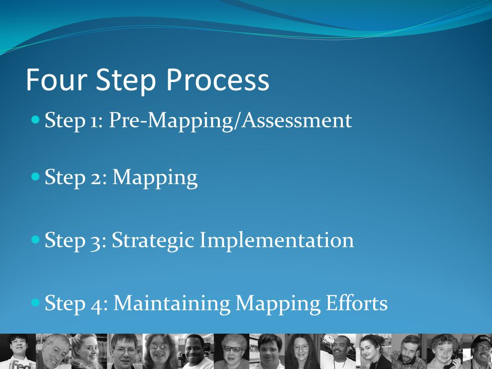 Four Step Process Step 1: Pre-Mapping/Assessment Step 2: Mapping