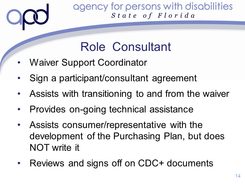 Role Consultant Waiver Support Coordinator