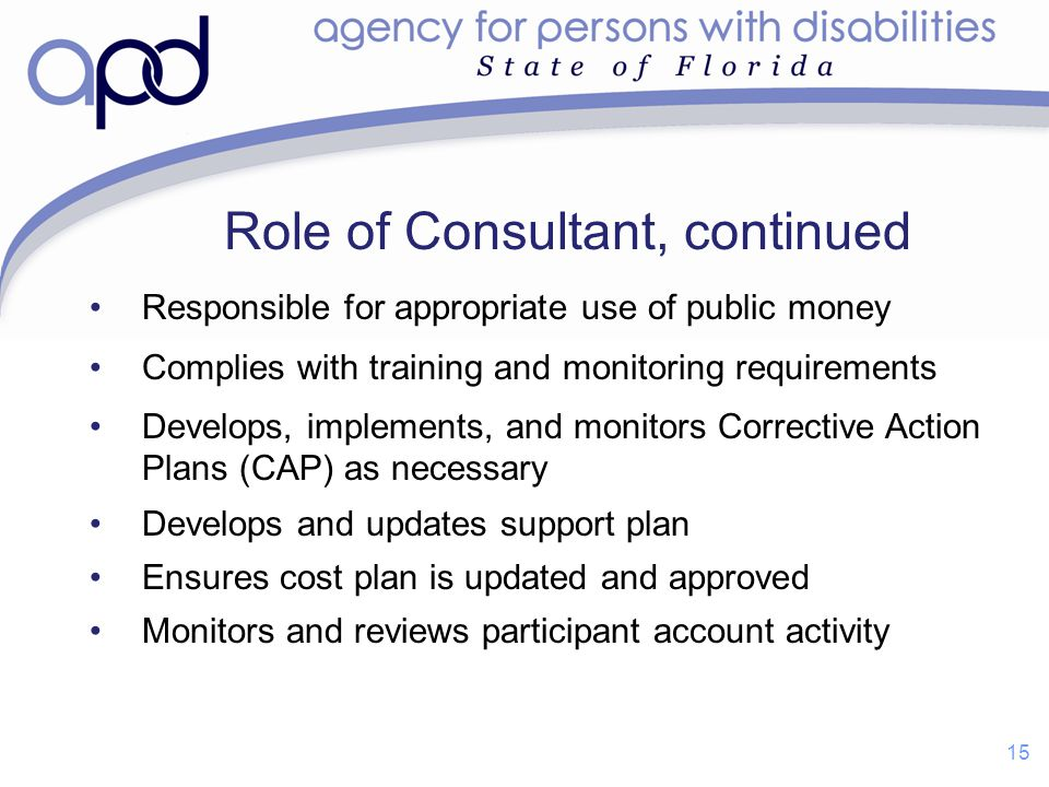 Role of Consultant, continued