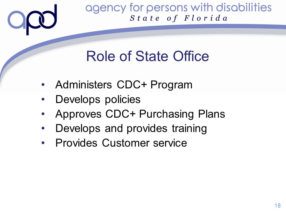 Role of State Office Administers CDC+ Program Develops policies