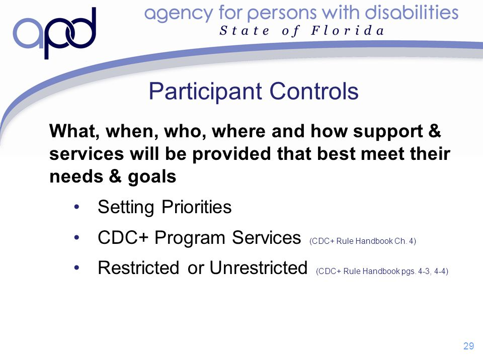 Participant Controls What, when, who, where and how support & services will be provided that best meet their needs & goals.