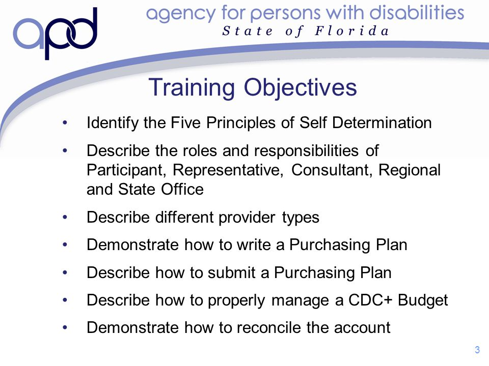 Training Objectives Identify the Five Principles of Self Determination