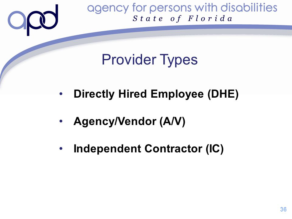 Provider Types Directly Hired Employee (DHE) Agency/Vendor (A/V)