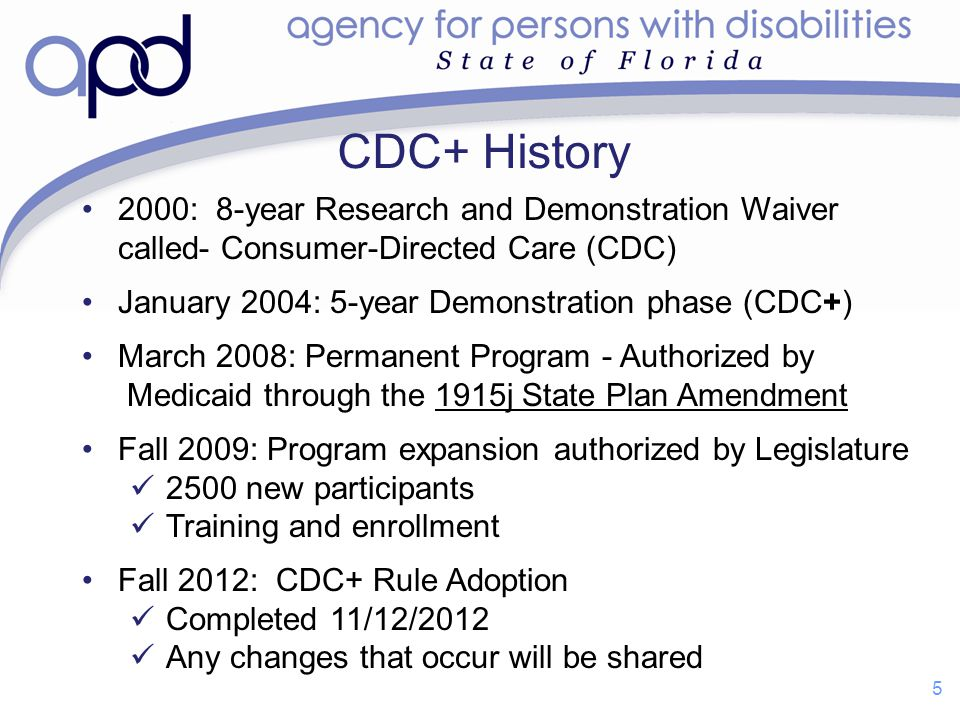 CDC+ History 2000: 8-year Research and Demonstration Waiver called- Consumer-Directed Care (CDC) January 2004: 5-year Demonstration phase (CDC+)