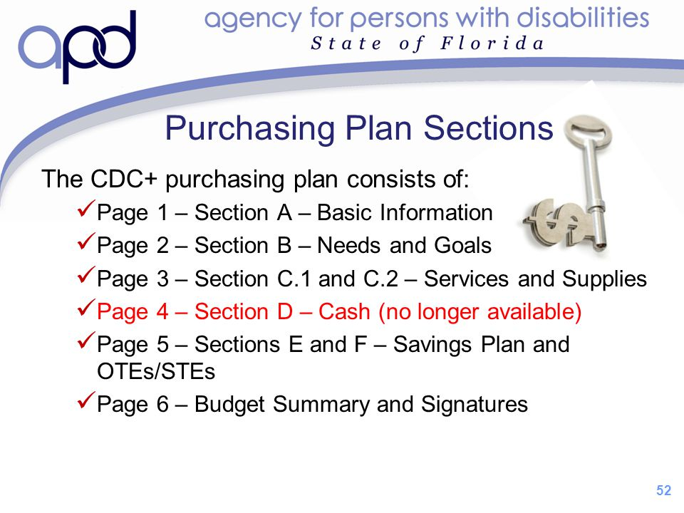 Purchasing Plan Sections