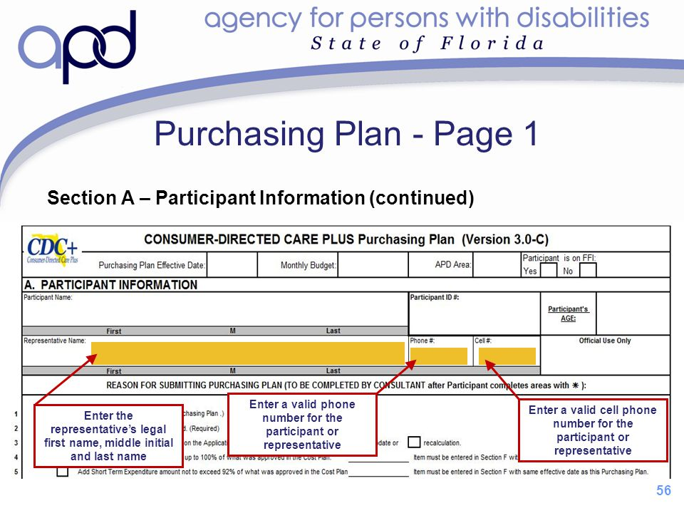 Purchasing Plan - Page 1 Section A – Participant Information (continued) Enter a valid phone number for the participant or representative.