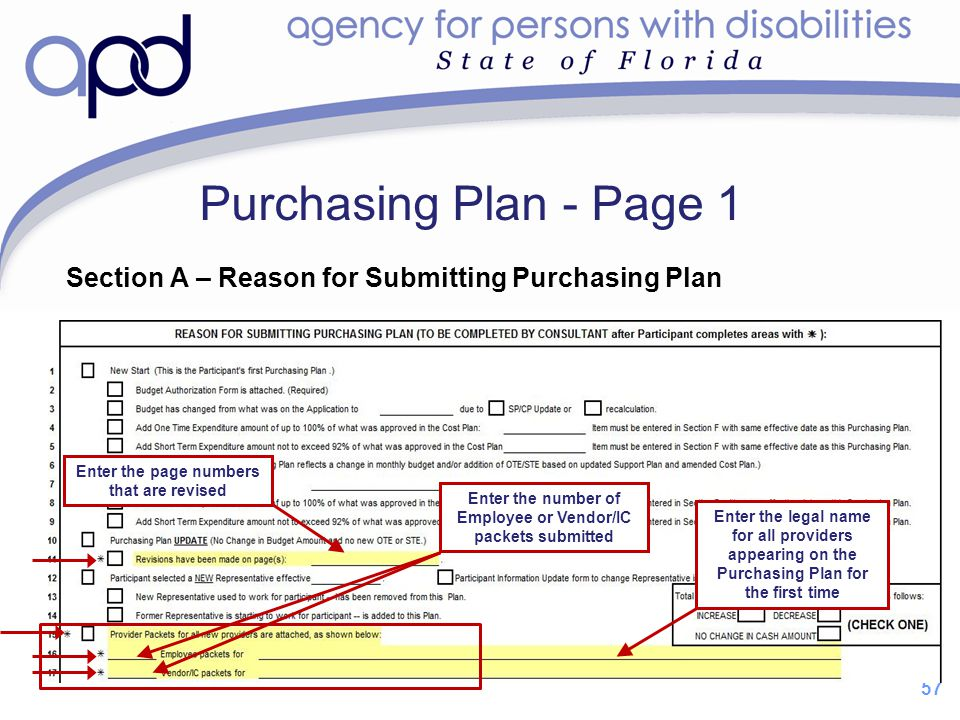 Purchasing Plan - Page 1 Section A – Reason for Submitting Purchasing Plan. Enter the page numbers that are revised.