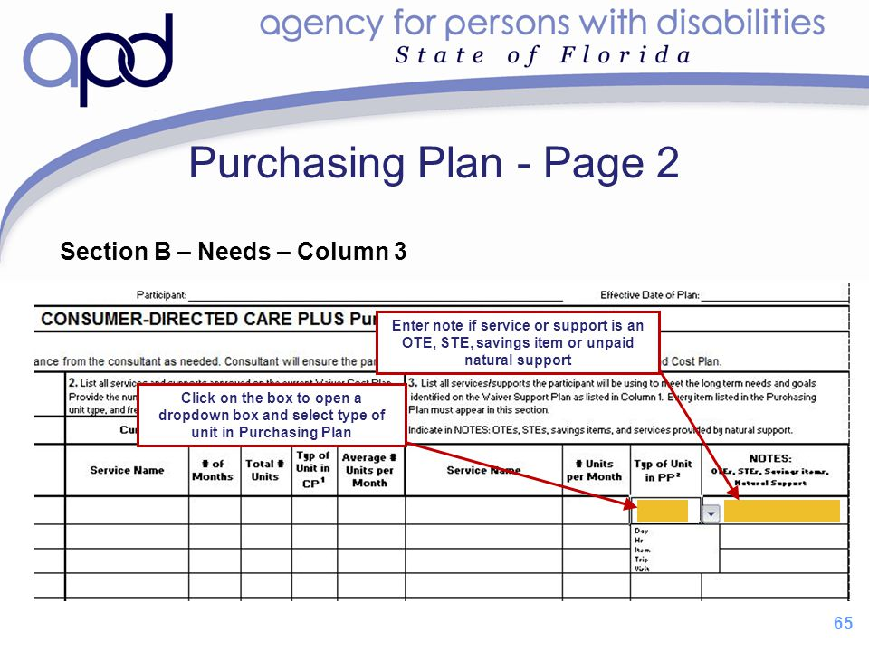 Purchasing Plan - Page 2 Section B – Needs – Column 3 65