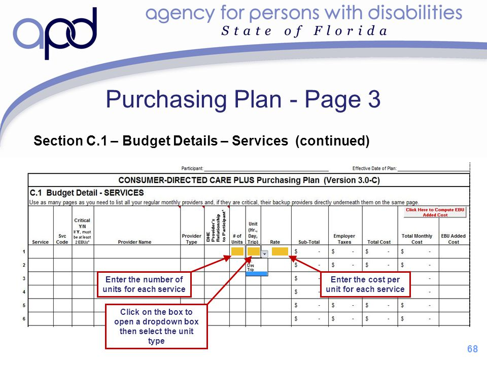 Purchasing Plan - Page 3 Section C.1 – Budget Details – Services (continued) Enter the number of units for each service.