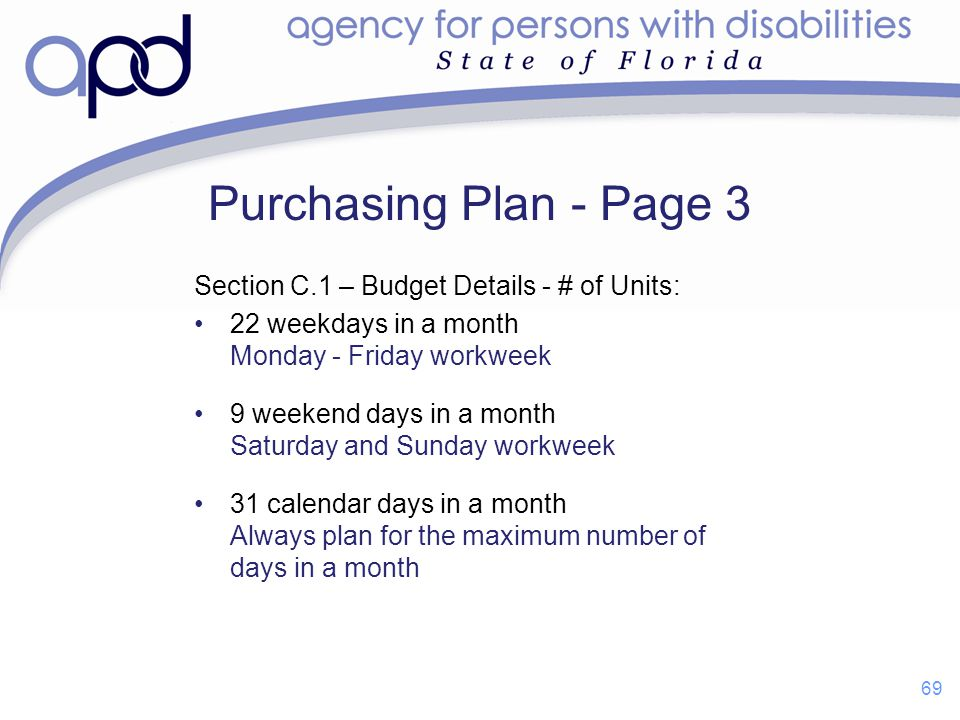 Purchasing Plan - Page 3 Section C.1 – Budget Details - # of Units: