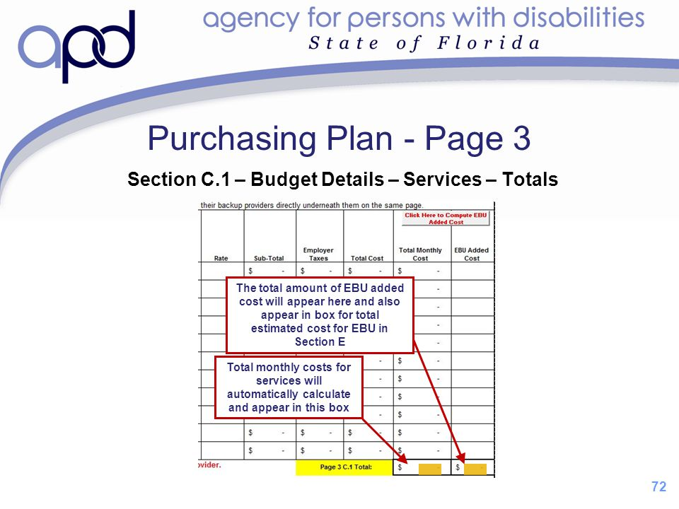 Purchasing Plan - Page 3 Section C.1 – Budget Details – Services – Totals.