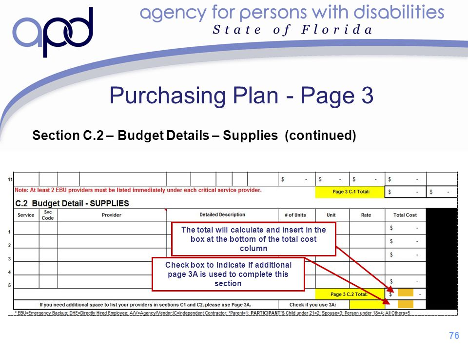 Purchasing Plan - Page 3 Section C.2 – Budget Details – Supplies (continued)