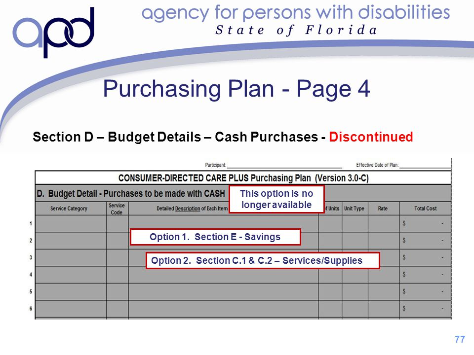 This option is no longer available Option 1. Section E - Savings