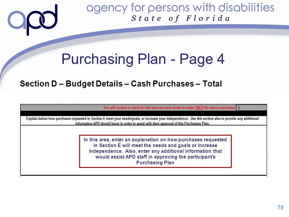 Purchasing Plan - Page 4 Section D – Budget Details – Cash Purchases – Total.