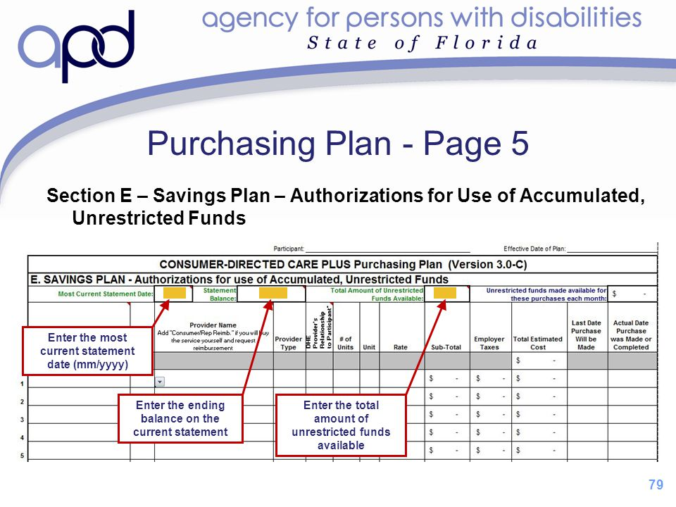 Purchasing Plan - Page 5 Section E – Savings Plan – Authorizations for Use of Accumulated, Unrestricted Funds.